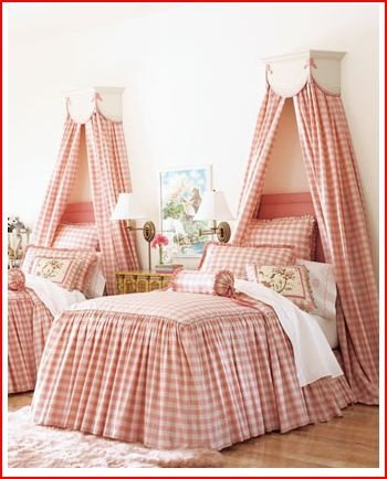 This valances above the bed are a great way to add a layer of sophistiacation that doesn't get in the way or everyday play! Kelley Proxmier