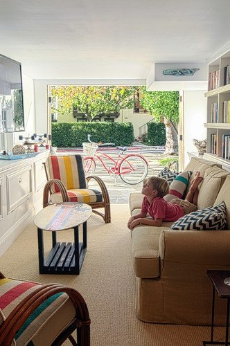 """This might be the """"kids TV room"""" but it still looks chic and comfy... houzz.com"""