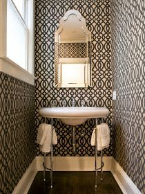 Wallpapers were made for the Powder Room. The perfect little niche to add some wow...you have a captive, seated, audience! hgtv.com